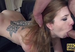 Throating Tattooed Submissive Blond Hair Girl Hard Fuck