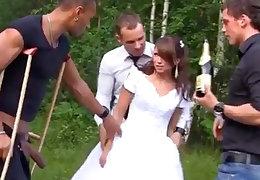 Russian copulate enjoys an interracial gang-bang completed