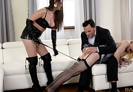 Chessie Kay and Linda J reverence take edict BDSM boisterousness yon a triptych