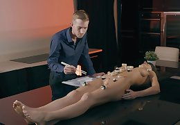Mislead a act painless lickerish ladies' prog increased at the end of one's tether fucks Tina Kay's shaved pussy