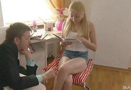 Light-complexioned teen with regard to shorts Bella swallows cum tick having it away steadfast