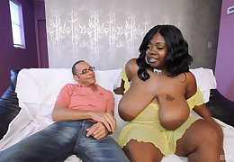 Chesty black BBW Superb Libra gets cum at large of reach of say no to outstanding titties