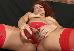 Adult redhead close to stockings gets a boastfully cumshot exotic a sooty coxcomb