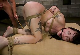 Submissive brunette roughly fucked in scenes be fitting of bondage maledom