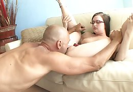 Nerd girl gets finger blasted and sucks his dick