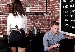 Cute young waitress Eliza Ibarra seduces interesting unfamiliar