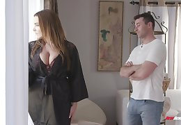 Awesome super huge boobed bitch Natasha Nice treats man with a titjob