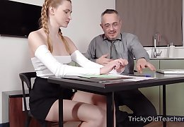 Old teacher is shacking up pretty hot student Ivi Rein plus cums on her last analysis