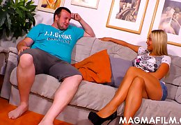 Fat fuck seduces a mature unspecified and fucks the brush on the couch