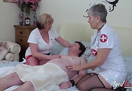 Two aged nurses fuck one kinky dude and lick each others smelly cunts