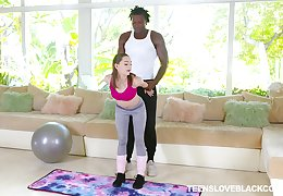 Young Aften Opal abandons workout be proper of BBC fuck with her trainer