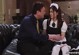 Pretty Asian housekeeper in perpetual Anna Kimijima is fucked and creampied by senior man