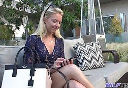 Having stood on knees bright blonde MILF Laura Bentley gives nice head