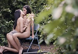 Sexiest hookup in the car park for young Emily Willis and Gianna Dior