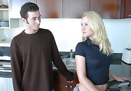 Alexis Malone takes a heavy young cock in the pantry