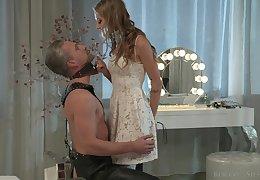 Lecherous mistress Tiffany Tatum punishes her submissive dude on a leash