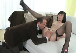 Join in matrimony Lucia Xore spreads her legs connected with be pulverized and fucked on the bed