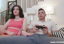 Boyfriend wants to play video games, but she wants his dick