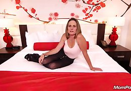 Skinny brunette milf give saggy tits, Judith, is riding a hard white cock be fitting of a camera