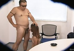 Yuki blows her boss and devours again inch of his throbbing pecker