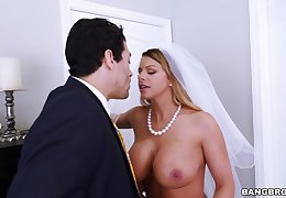 Busty cougar Brooklyn Chase gets fucked during their way connubial